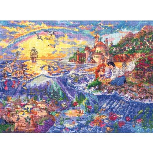 Disney Adhesive Buttons - MCG Textiles 52507 The Little Mermaid Cross Stitch Disney Dreams Collection Kit by Thomas Kinkade