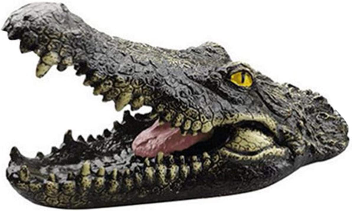 Wustrious Floating Alligator Head Decoy, Floating Crocodile Open Mouth Head, Garden Pond Art Decor for Goose, Heron, Duck Deter Animals, 8.7X 4.3X 4.5 inches