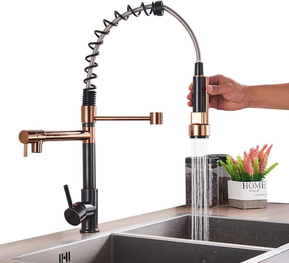 girevole a 360/° Rubinetto da cucina con doccetta estraibile colore: nero//oro rosa Onyzpily