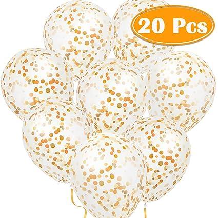 Amazon Paxcoo 20 Pcs 12 Gold Confetti Glitter Balloons For