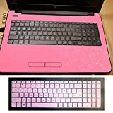 2in1 Wrist Palmrest Skin Cover+ Keyboard Protector for 15.6'' HP 15-ac 15-ay series, 15-ac121dx 15-ac143wm15-ay012dx etc (shimmery pink palmrest cover+semi-pink keyboard skin)