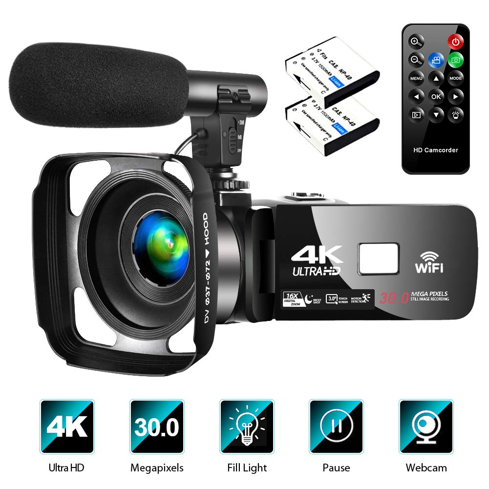 4k-video-camera-camcorder-with-microphone-vlogging-camera-youtube-camera-recorder-ultra-hd-30fps-30mp-30-ips-touch-screen-with-lens-hood-2-batteries