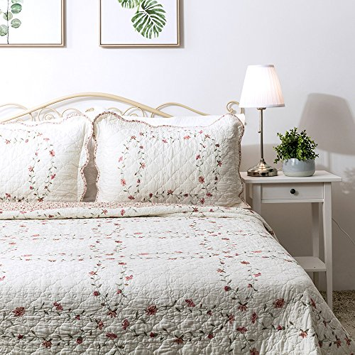 Elegant Life 100% Cotton Floral Pattern Windsor Love Embroidery Pillow Sham Pillow Cover Pillowcases, Standard Size, (Floral Sham)