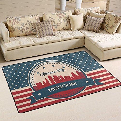 Vintage American Flag Missouri State Kansas Skyline Playmat Floor Mat For Dining Room Living Room Bedroom, Size (Framed Turquoise Earrings)