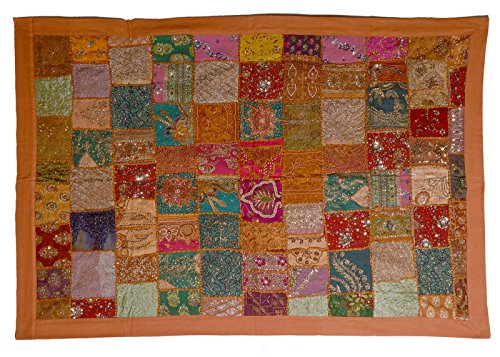 (KDHS Authentic Indian Zari Sari Lace Beaded Vintage Décor Tapestry Wall Hanging Size 40 x 60 inches)