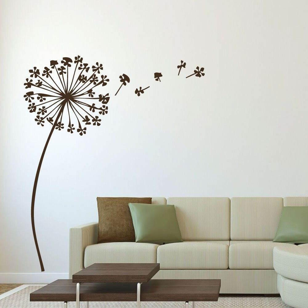 Amazon com dandelion wall decal with seeds flower design vinyl sticker for home decor living room dining room playroom or bedroom decoration handmade
