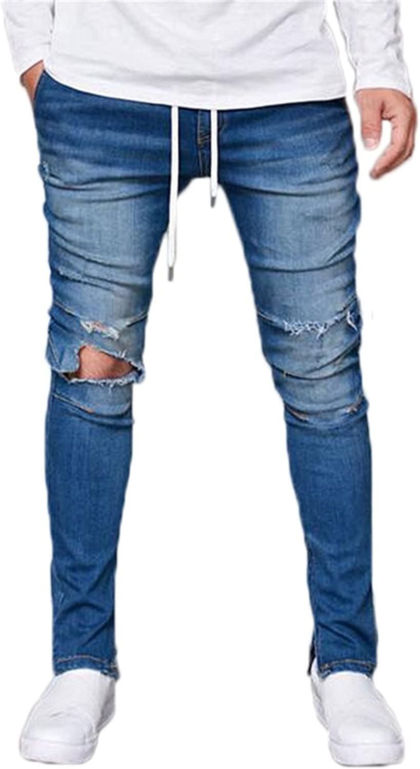 Sarriben Mens Stylish Ripped Washed Denim Skinny Destroyed Jean Casual Pant