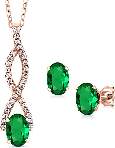 18k Gold Plated Jewellery Set Necklace Earring Sapphire Pendant Chain Drop Green
