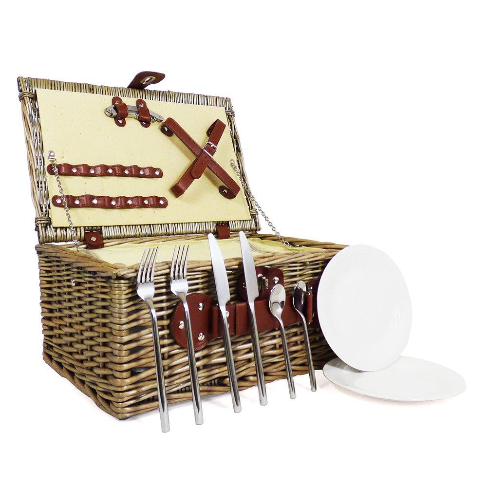 2 persona mimbre cesta de Picnic con construido lujo en compartimento enfriador y lujo construido – Cubertería de acero inoxidable ideas para cumpleaños, boda, aniversario y empresarial 78ab5a