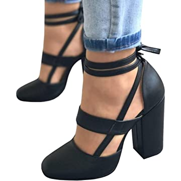5e2f2d6e32d Huiyuzhi Womens Chunky Ankle Strappy Sandal Pumps Lace Up High Heels