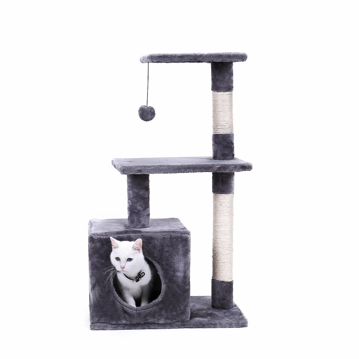 PAWZ Road 34'' Cat Tree, Kitten Activity Tower Condo Stand with Deluxe Scratching Posts, Natural Sisals-Grey