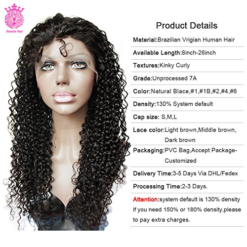 Female Star Hair 7A Grade Glueless Full Lace Human Hair Wigs for Black Women Kinky Curly Brazilian Virgin Human Wigs With Baby Hair 12-26 inch 130,150,180 density
