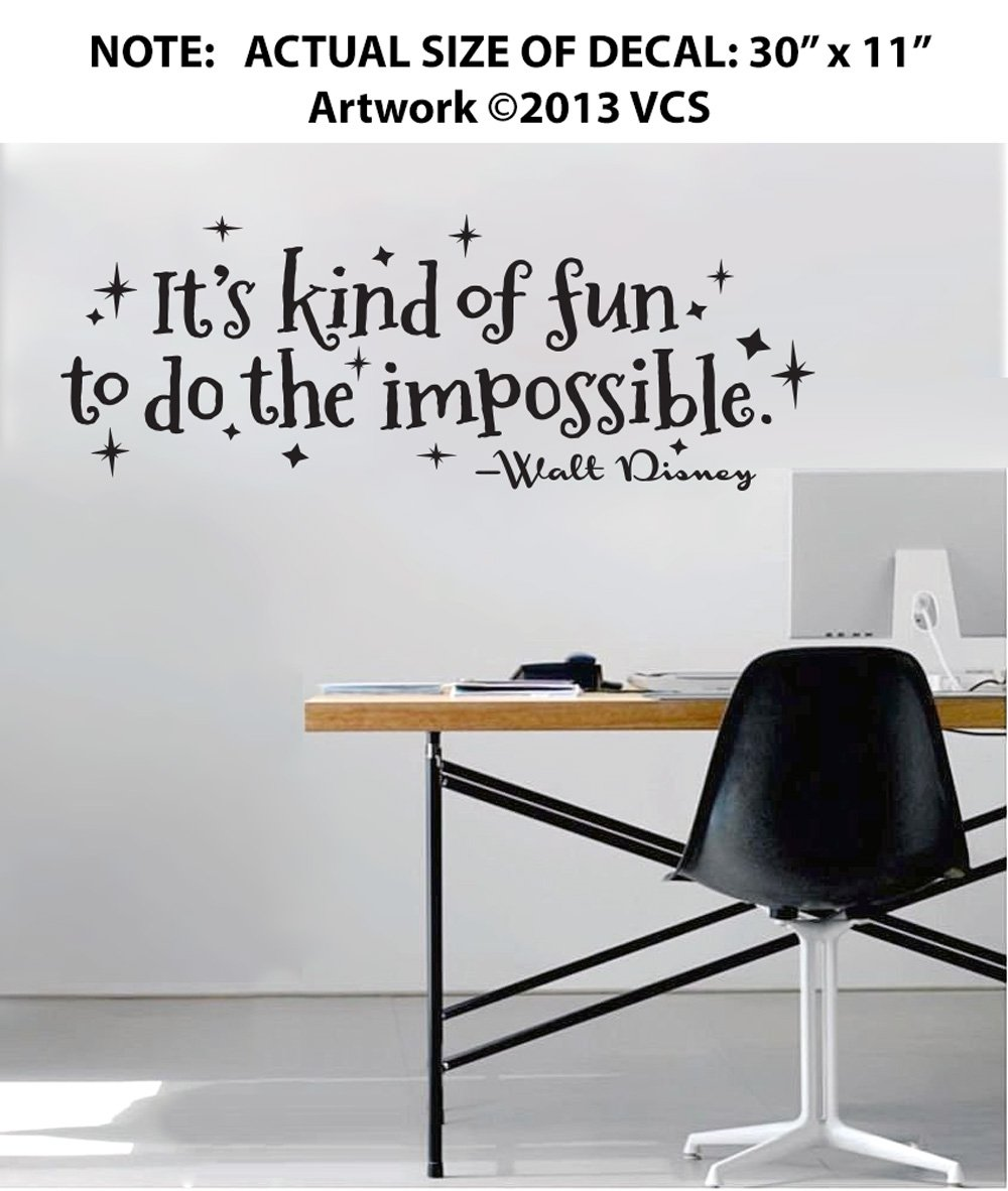 Amazon its kind of fun to do the impossible wall dcor amazon its kind of fun to do the impossible wall dcor sticker vinyl decal walt disney quote 30 x 11 home kitchen amipublicfo Choice Image
