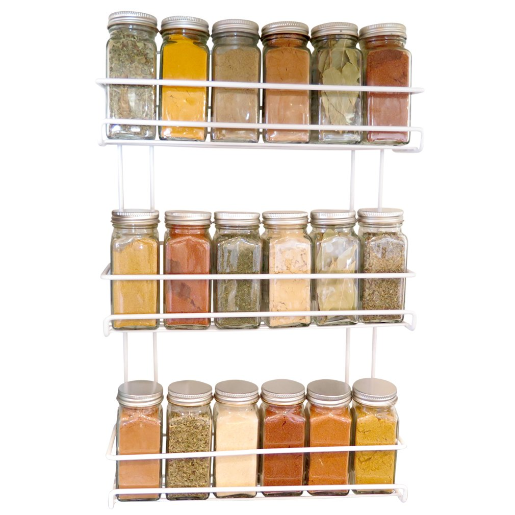 Evelots 3 Tier Wall Mounted Spice Rack, White Green Mountain Imports COMINHKPR79372