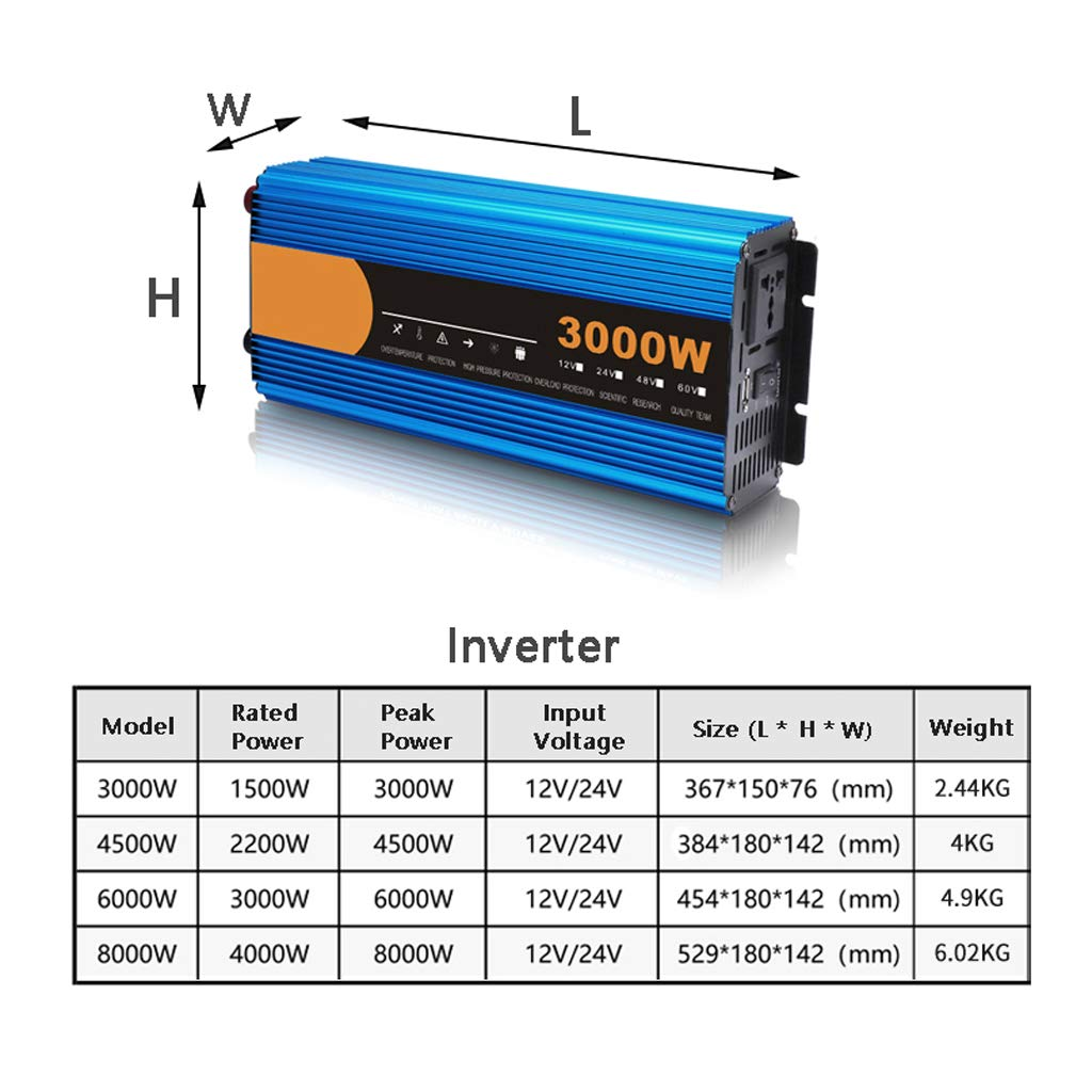 Inversor De Corriente 3000W / 4500W / 6000W / 8000W Convertidor DC ...