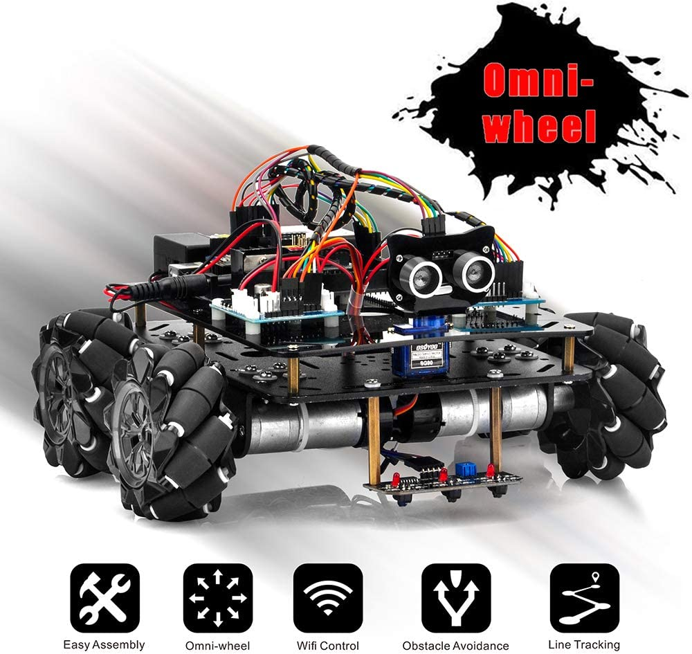 OSOYOO Omni-directinal Mecanum Wheels Robot Car Kit for Arduino | Metal Chassis DC Speed Encoder Motor Robotic |Stem Remote Controlled Educational | DIY Coding for Kids Teens Adults