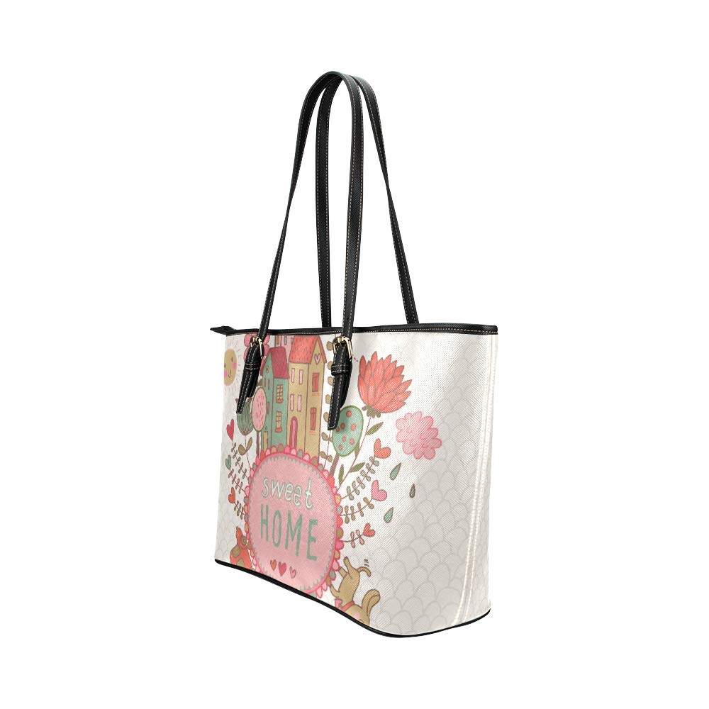 Printed Lovely Sweet Home Family Large Soft Leather Portable Top Handle Hand Totes Bags Causal Handbags With Zipper Shoulder Shopping Purse Luggage Organizer For Lady Girls Womens Work