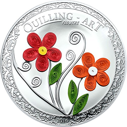 2016 CK Quilling Art FLOWERS Handmade Silver Coin 2$ Cook Islands 2016 0.5 Oz Proof