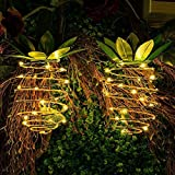 1Pc Solar Pineapple Lamp, Vintage Iron Filament Light with 25 Warm White LED Bulbs, Outdoor Waterproof Garden Hanging Fairy String Lights Decorative Light(15.515.522cm/6.106.108.66inch,Warm White)