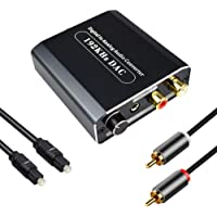 192KHz Digital to Analog Audio Converter with Volume Adjustment, Hdiwousp Optical to RCA Audio with Toslink Cable and…