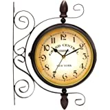 Vintage Inspired Double Sided Wall Clock Wrought Iron Train Station Style Round Clock with a Scroll Wall Side Mount 360 Degree Rotation Home Décor 8inch