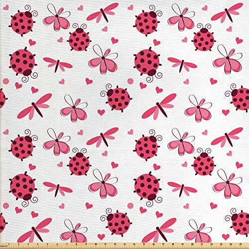Ambesonne Ladybugs Fabric by The Yard, Domed Back Round Ladybugs with Hearts Flowers Dragonflies Romantic Wings Pattern, Decorative Fabric for Upholstery and Home Accents, 1 Yard, Red White (Domed Flower)