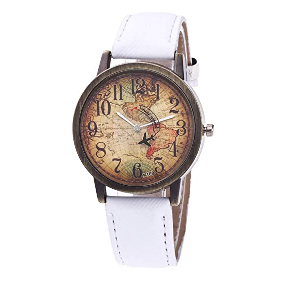 homim reloj cuarzo mujer Analog Original reloj Vintage con diseño de mapamundi correa denim Jean bronce: Amazon.es: Relojes