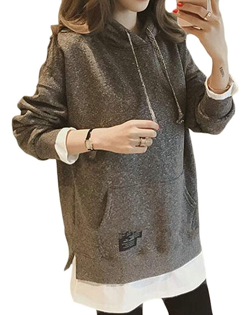 Fubotevic Womens Pocket Long Sleeve Relaxed False Two Pullover Hooded Sweatshirt