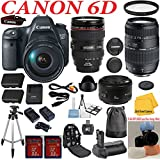 Canon EOS Rebel 6D 20.2 MP CMOS Digital SLR Camera + Canon 24-105 L Zoom Lens + Tamron 70-300 Zoom Lens + Canon 50 1.8 Portrait Lens + UV Filter + Extra Battery and Rapid Travel Charger + Deluxe Power Grip + Flash Diffuser Set + 33rd Street Starter Kit with Cloth + 2pcs 32GB Memory Cards + Premium Accessories
