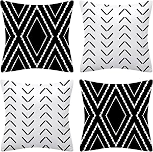 Set of 4 Black and White Geometric Pillow Covers 18 x 18 inches Boho Decorative Throw Pillow Covers Accent Pillowcase for Sofa Couch Living Room Bed Decor