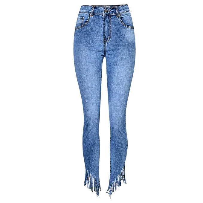 Slim Look Denim Jeans De Mujer Tassel De Moda Damas Fashion ...
