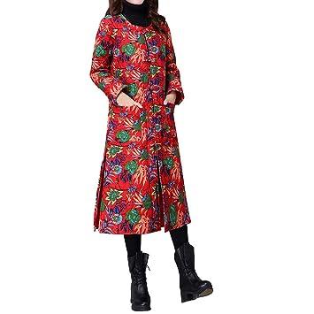 Abrigo Mujer Invierno ZARLLE Abrigos de Invierno con Forro de Piel sintética de Chaquetas Parkas para Mujeres Folk-Custom Cotton-Padded Impresión Easy ...