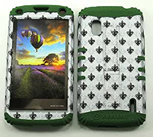 Cell-Attire Shockproof Hybrid Case For LG Nexus 4, E960 and Stylus Pen, Dark Green Soft Rubber Skin with Hard Cover (Saints, Fleur-De-Lis, Gray) T-Mobile by Maris's Diary