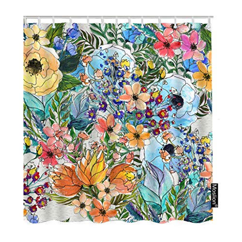 Moslion Floral Bath Shower Curtain Set Colorful Garden Bouquet of Rose Lily Sunflowers Leaves Botanical Plant Shower Curtains Home Decorative Waterproof Polyester Fabric Hooks 72x90 Inch from Moslion