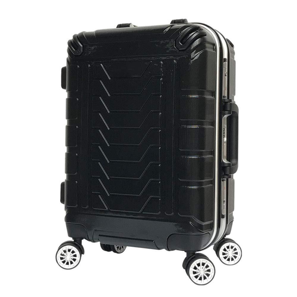 トロリーボックスハイエンドビジネスアルミフレーム20インチ24インチユニバーサルホイール多機能スーツケース税関パスワードロック荷物 (Color : ブラック, Size : 24 inches)   B07R8X6YP3