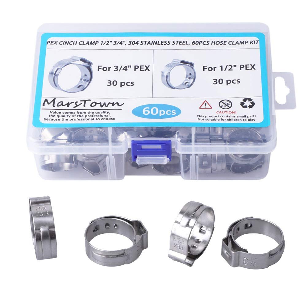 PEX Cinch Clamp 1/2-inch, 3/4-inch, 304 Stainless Steel, 60PCS Hose Clamp Kit, Single Ear Stepless Clip Rings PEX Pipe Assorted Kit (60 PCS) by MarsTown