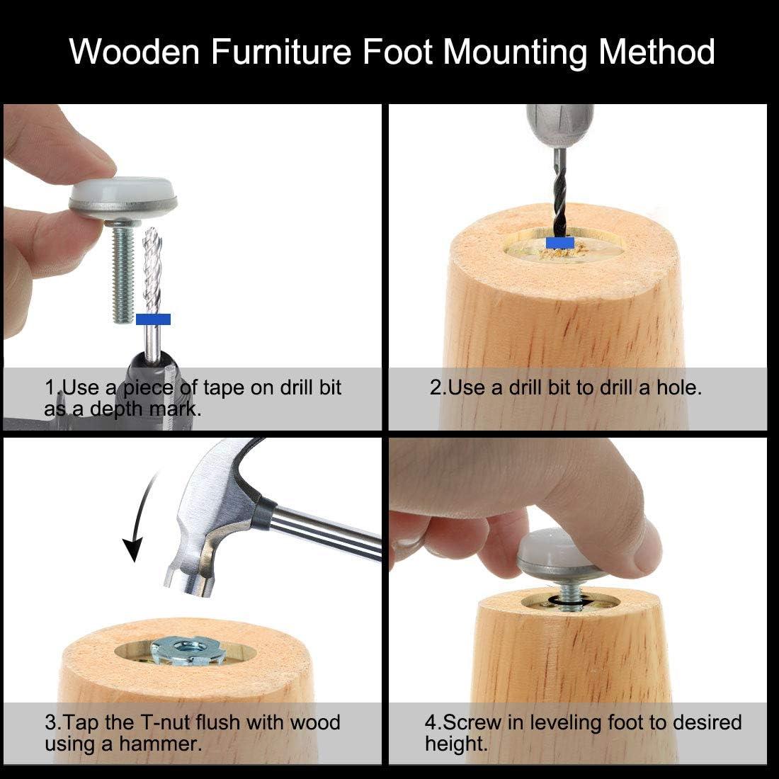 Sourcingmap M6 x 25 x 30 mm Tornillo en muebles deslizamiento nivelaci/ón pies nivelador ajustable con tuercas en T para patas de mesa