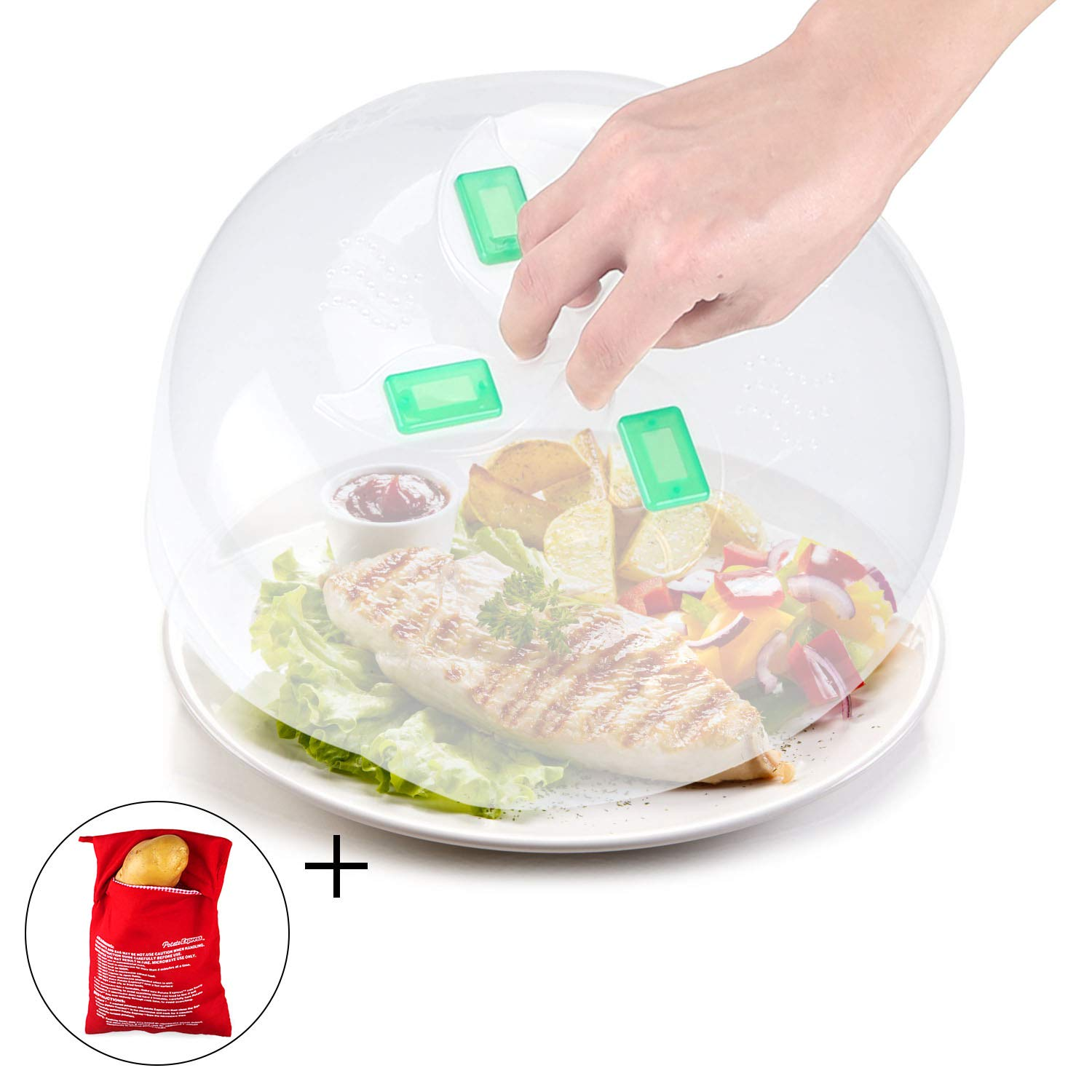 Microwave Plate Cover Microwave Food Cover Anti-Splatter Lid with Steam Vents 11.5 Inch - No Magnetic Function + Microwave Potato Cooker