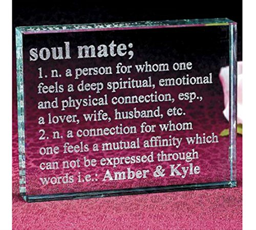 Personalized Soul Mate Glass Block MOST WATCHED (Mate Soul Block Glass)
