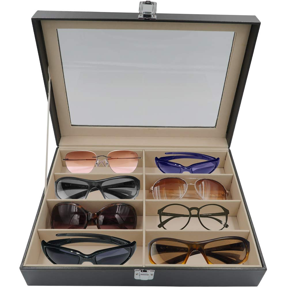 Evelots 8 Slot Sunglass Organizer/Collector Display Case, PU Leather Storage Box