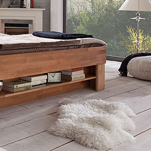 futonbett sofie 140 x 200 cm holz bett aus buche massiv kernbuche ge lt naturholz bett mit. Black Bedroom Furniture Sets. Home Design Ideas