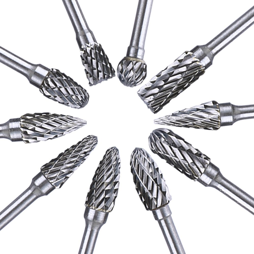 Zoefree 10 Pieces Tungsten Carbide Double Cut Rotary Burr Set with 3 mm (1/8 Inch) Shank and 6 mm (1/4 Inch) Head Size for Woodworking Drilling Carving Engraving by Zoefree (Image #2)