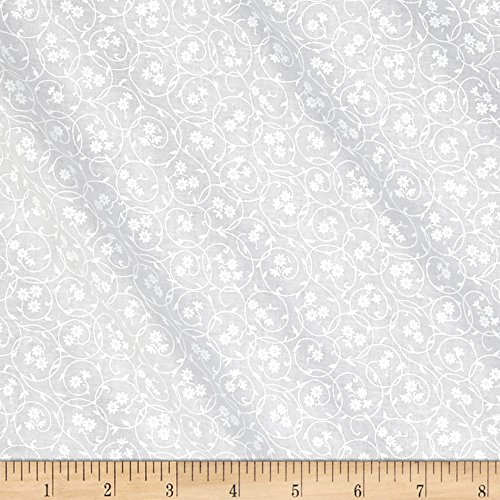 Santee Print Works Classic Tone Floral Swirl White Fabric by The Yard