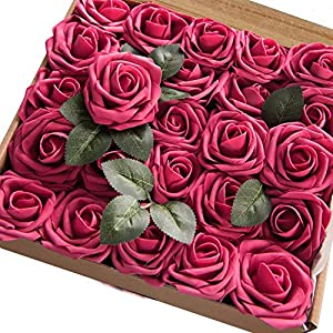 Homcomoda Artificial Flowers Red Rose 30pcs Real Looking Fake Rose with Stem for Wedding Bouquets Arrangements Party Baby Shower Home Decorations (Red Wine) 5