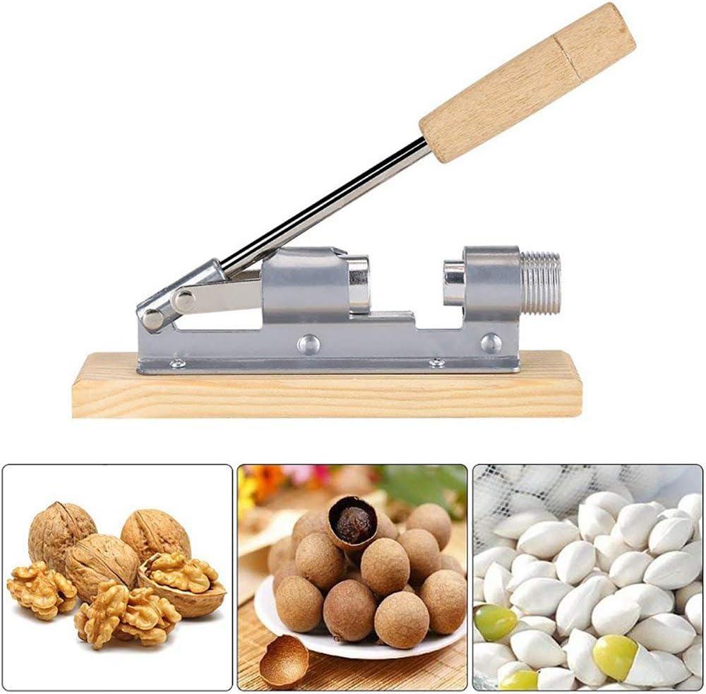 Manual de Cascanueces para nueces y Frutas con Casco de INOX con empu/ñadura mec/ánica de Madera Solomi Cascanueces