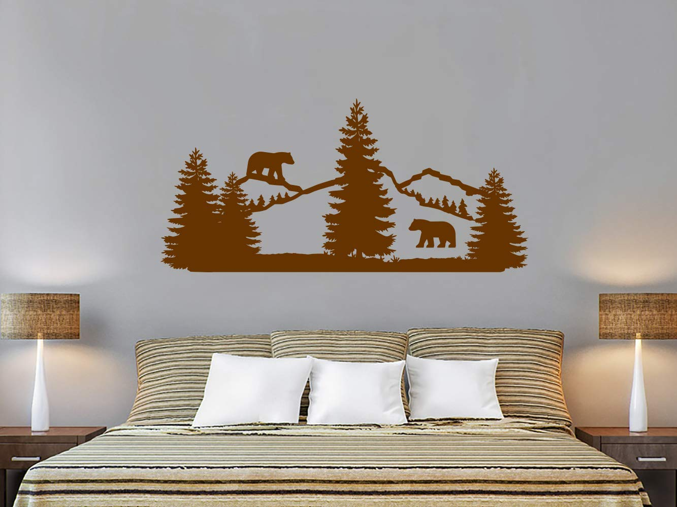 Mountains Woodland Wall Decals. Bear Nursery Wall Vinyl Stickers. Pine Trees Wall Decor. Forest Landscape Nature Wall Art. Mountain Nursery Bedroom C714