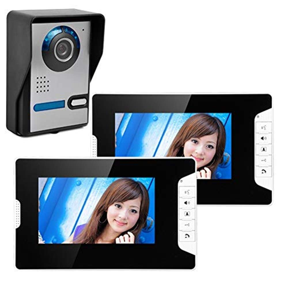 Video doorbell Video Doorbell Video Intercom-7inch Monitor Smart Video Door Phone Kit  1 Stainless Steel-Camera 2-Monitor Night Vision Camera Angle Adjustable
