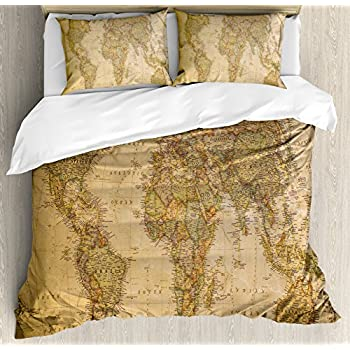 Amazon sleepwish world map bedding duvet cover set for kids ambesonne world map duvet cover set queen size by anthique old world map in retro colors vintage nostalgic design art print decorative 3 piece bedding set publicscrutiny Image collections