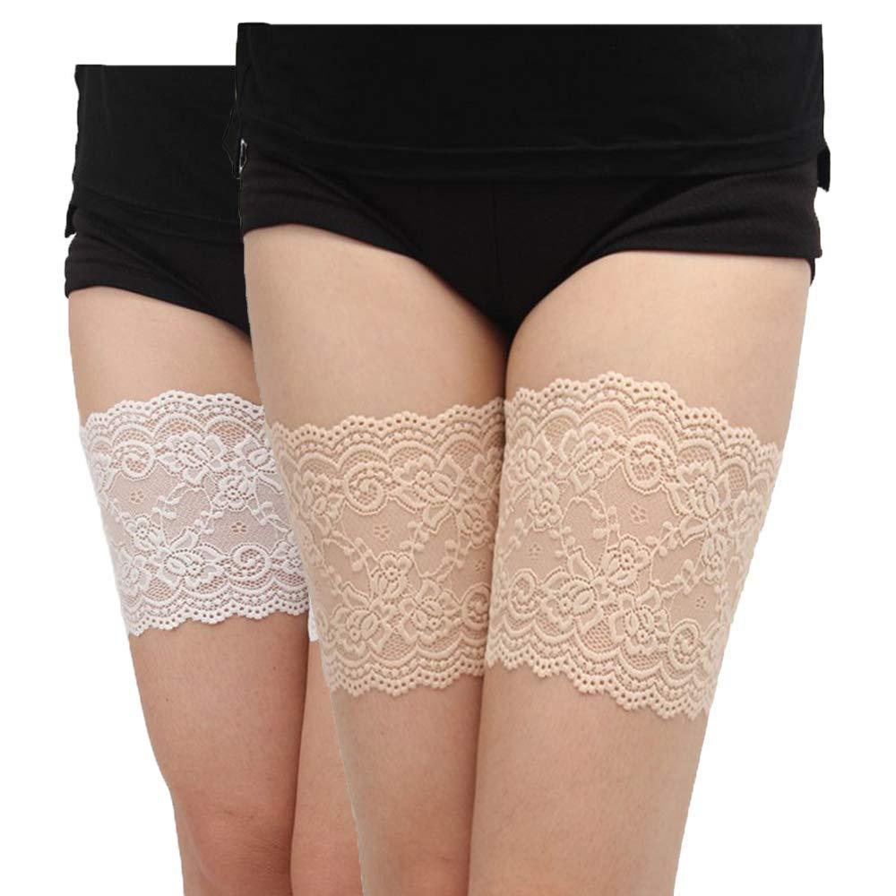 Vertvie Damen Elastische Oberschenkelb/änder B/änder Socke Anti-Scheuern Strumpfbend mit breitem