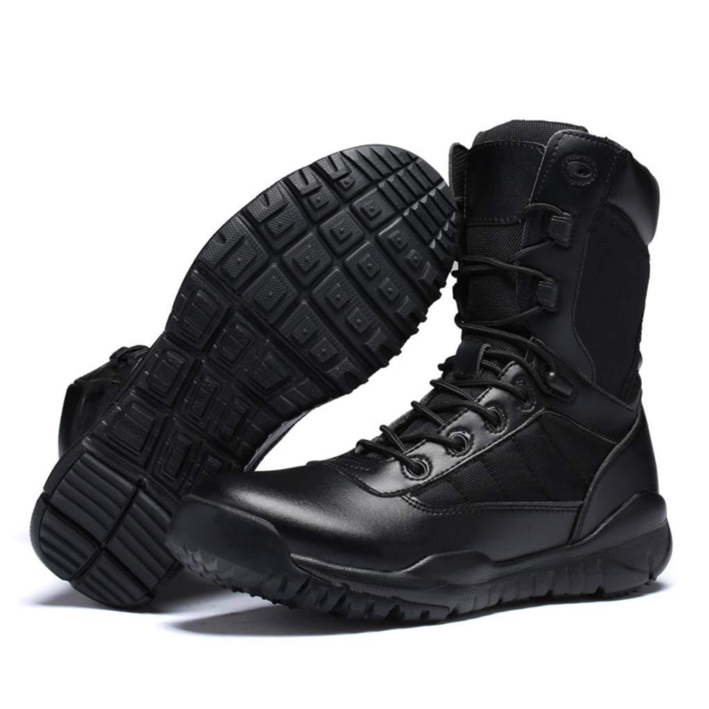 Alaeo Herren-Leder-W/üsten-Armee-Stiefel mit seitlichem Rei/ßverschluss Kampf Military Stiefel Patrol Securtity Sicherheitsstiefel atmungsaktiv Outdoor Wandern Tactical Cadet Boot